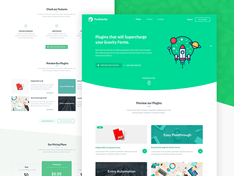 ForGravity - Project Overview layout homepage green design website clean ux ui user interface