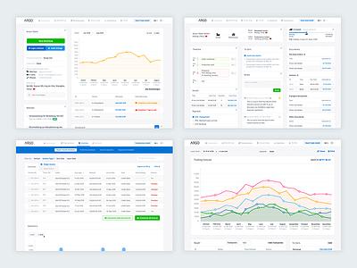 ARGO - Invoices, Transactions, Cashflow Dashboards data heavy graphs tables transactions cashflow invoices blue application clean light web app dashboard