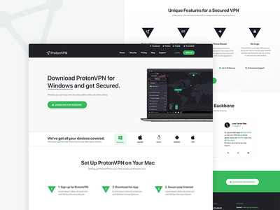 ProtonVPN - Downloads Page minimalistic green light layout vpn download page clean website