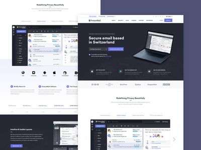 ProtonMail Homepage Exploration layout swiss protonmail blue dark secure user experience user interface ux ui site homepage website