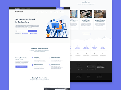 ProtonMail Homepage Exploration #2 user experience user interface dark swiss secure blue site ux ui layout website homepage