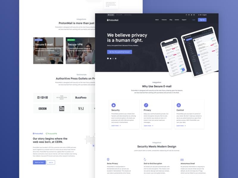ProtonMail - Homepage Design Exploration