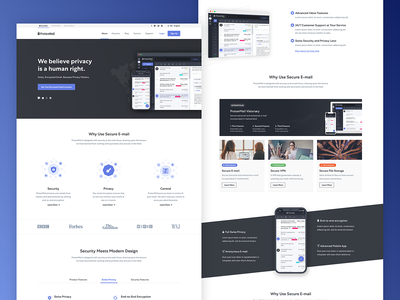 ProtonMail - Website Design Iterations user interface web design website clean blue ux layout design homepage ui