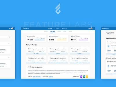 FeatureLabs - Web Application Design simple blue ui layout ux clean design web application machine learning dashboard web app