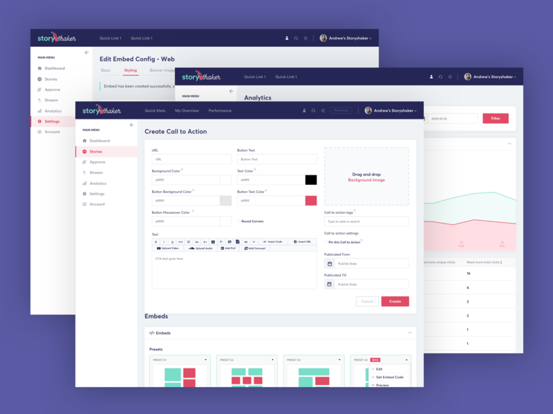 StoryShaker - Inner Dashboard Pages