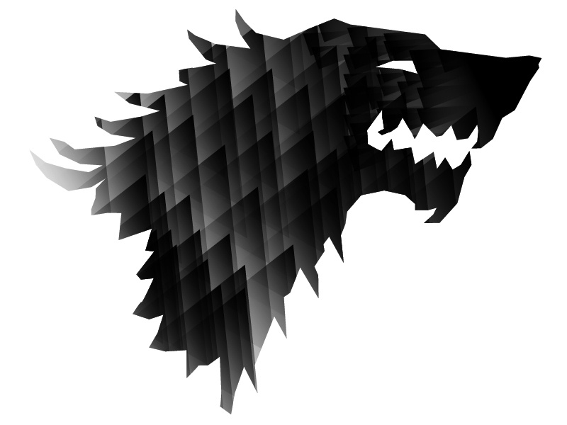 Stark wolf gameofthrones got hbo stark winteriscoming logo illustration poly black