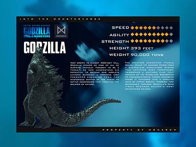Godzilla: King of the Monsters uidesign user interface godzilla card branding logo ui design app sketch