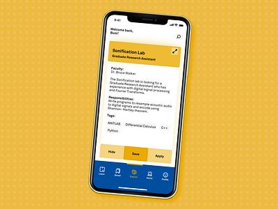 Waggle (v1) learn swipe tinder jobs card branding design system mobile ui buzz minimal marvel logo material gradient georgia tech ui mobile app sketch design