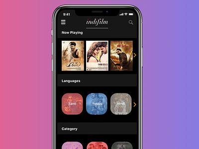 Indifilm typography ios app cloud streaming movie film dark mode dark ui dark ios ui mobile app sketch design