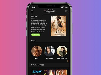 Indifilm gradient dark ui minimal tone netflix cloud streaming film dark mode dark ios mobile app sketch design