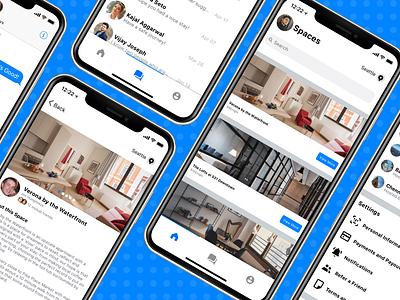 Spaces airbnb house enterprise white system facebook branding minimal material logo gradient ui mobile app sketch design