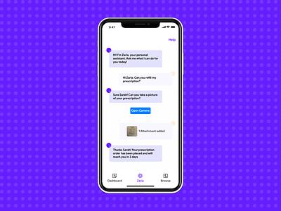 Zaria - Smart Assistant app mobile sketch google ios white material minimal ux medical chat chatbot assistant smart machine aiux ai