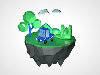 Carhand static image tree small miniature car planet island cinema4d lowpoly