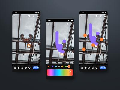 Camera drawing experience photos social media app color tool drawing camera app mobile ui