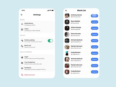Block list design trustexperience trust protopie prototype animation uiux blocked social media mobile app mobile block list blocklist