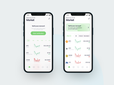 Trading app of market feed design verify account verify uiux mobile app crypto trading crypto exchange ethereum ltc dogecoin doge bitcoin crypto wallet crypto trading app trading marketing