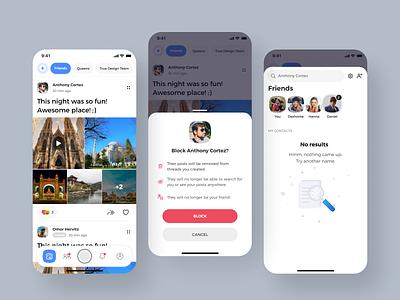 Blocklist flow design social app social social media uiux mobile ui search results search trustworthy trustable healthy community healthy socialmedia block blocklist