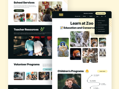 Learning page design school service volunteers website design education programs community education learning zoo