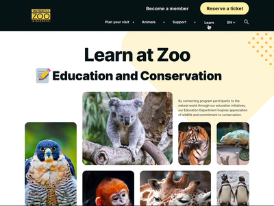 Zoo website-learning and conservation details page details programs volunteer kids education conservation learning website zoo