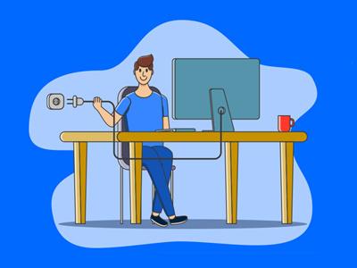Shutdown day illustration vector programming wire flat character office shutdown computer