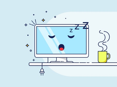 Shutdown Day illustration vector coffee sleepy programming flat office shutdown computer