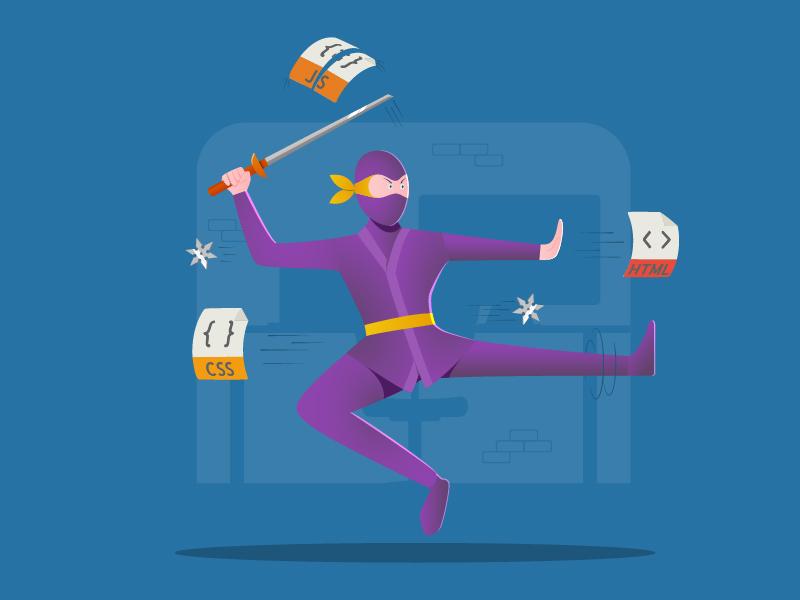 Frontendninja vector javascript css html coding frontend programming illustration ninja flat computer character