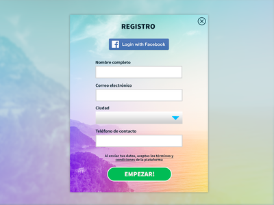 Register modal bucaramanga colorfull facebook ui modal register