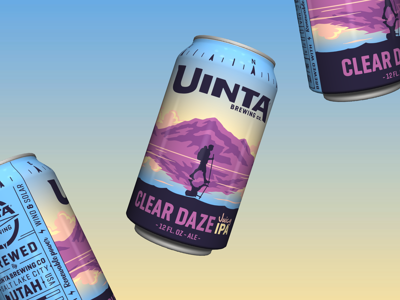 Uinta Clear Daze Juicy IPA gradient sunset juicy packaging craft beer ipa illustration beer