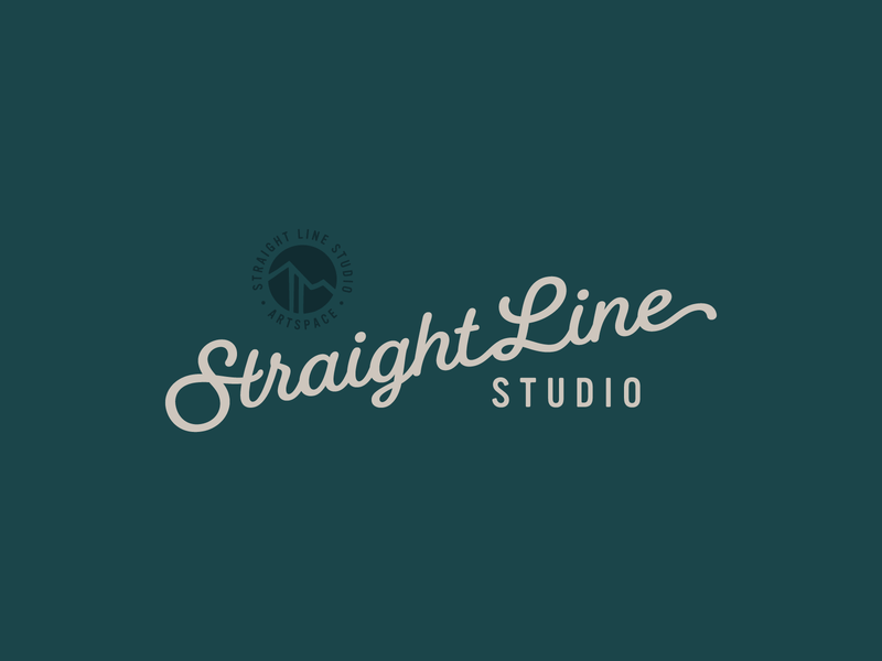 Straight Line Studio Logo illustration wordmark script cursive colorado mountains skiing studio artspace art logo branding aspen