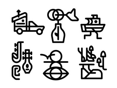 Folk Icons design vector folk boat illustration icons icon