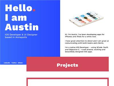 Austin Garcia Portfolio Site mobile portfolio flat ui typography ios