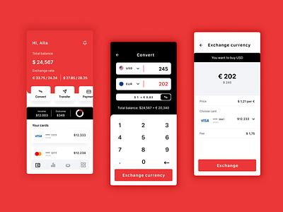 Currency converter calculator bank ui uxui design bank card banking bank app bank account converter