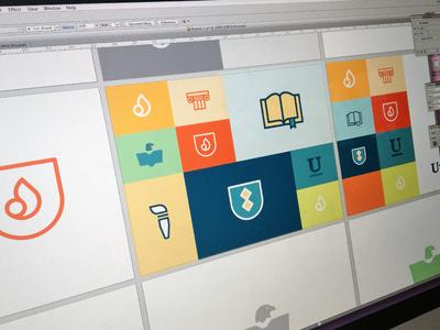 Branding Work in Progress simple colorful logo mark collegiate students identity focus lab professional branding icon logo design