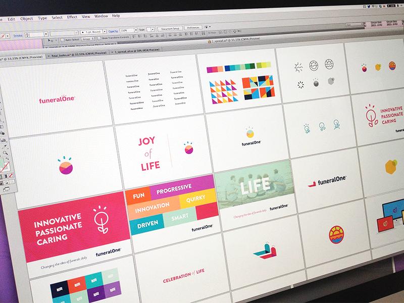 Branding Explorations Week 1 branding color life funeralone identity fun lively logo simple clean celegrate focus lab