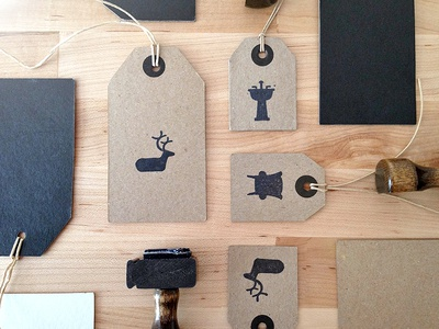 Branding Hang Tags logo logo design focus lab branding tags hang tags icons furniture artisan natural deer
