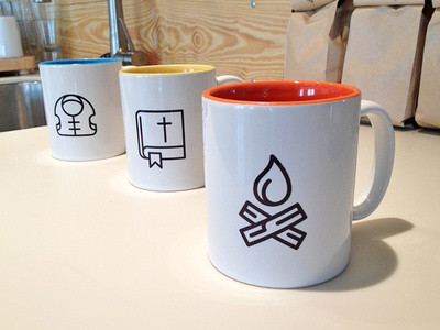 Icon Mugs logo design bible branding focus lab camp forest springs camping icons coffee mugs fire logo