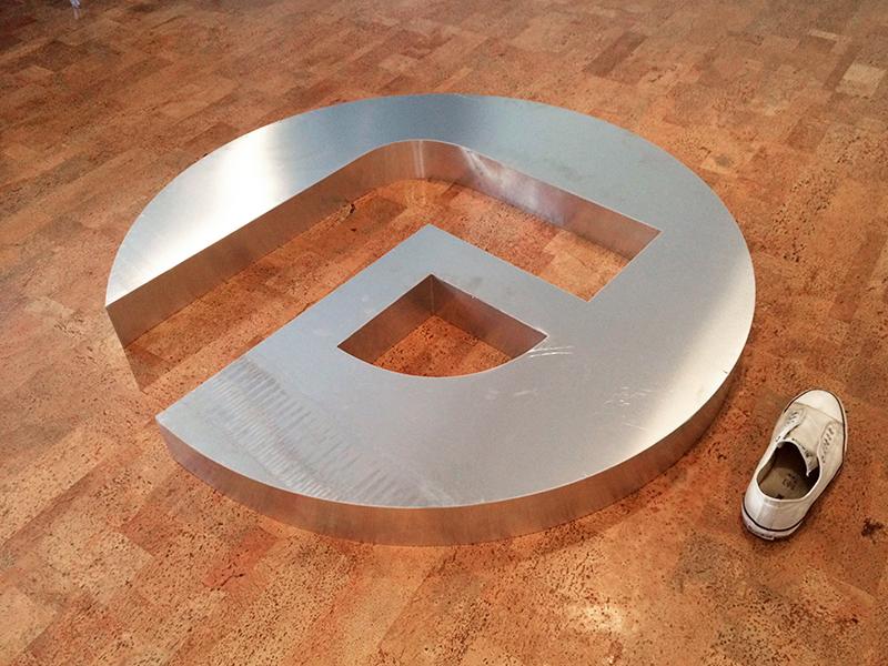 Huge Aluminium Logo branding focus lab logo f metal huge aluminum sign mark simple
