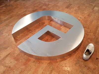 Huge Aluminium Logo branding focus lab logo f metal huge aluminum sign mark simple