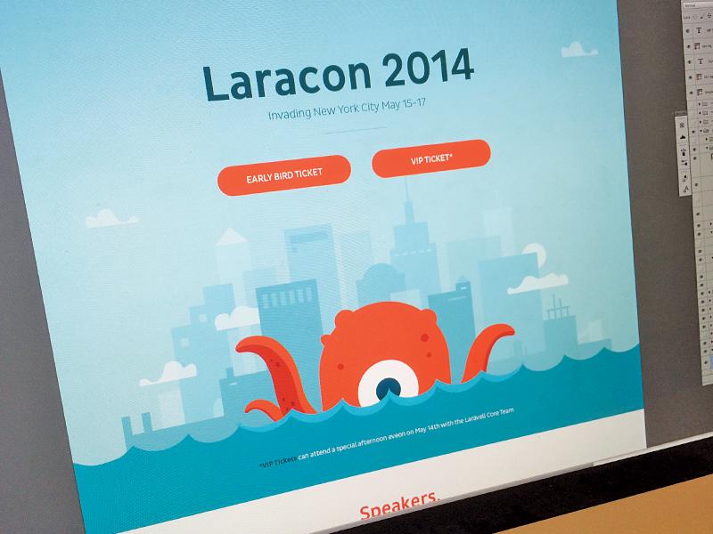Laracon Invasion skyline branding website focus lab monster city conference web design homepage illustration laravel