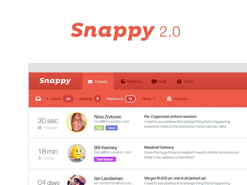 Snappy 2.0 snappy ui branding interface support tickets focus lab