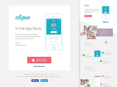 Clique Dribbble focus lab clique app iphone app website branding web design