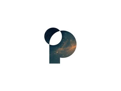 P is for Planet space planet exploration mark p logo design identity focus lab branding
