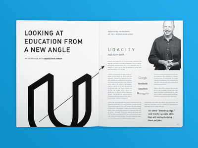 Udacity Exploration magazine article mock up learn udacity perspective clean simple u identity focus lab branding