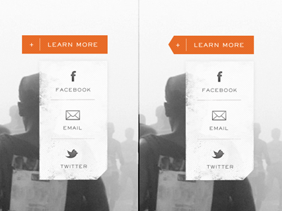 Which One clean call to action drop down ux