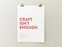 Craft Isnt Enough