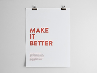 Make It Better growth make it better values standards poster focus lab