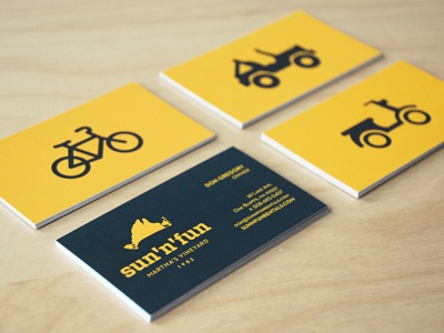 Sun 'n' Fun Cards business cards sun n fun branding identity bicycle scooter icons jeep