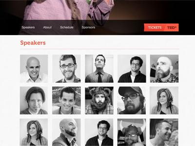 Tedx Scroller Anchor avatars event speaking people tedx creativecoast savannah conference minimal
