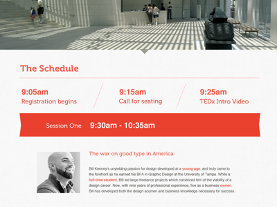Tedx Schedule ribbon red date speaking event tedx creativecoast savannah conference minimal scroller clean