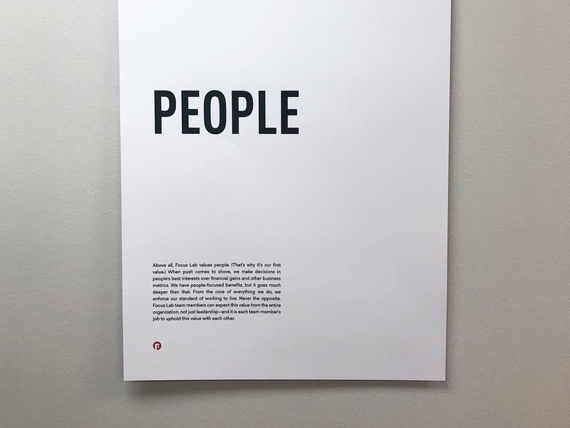 People values people first people poster simple clean branding identity focus lab